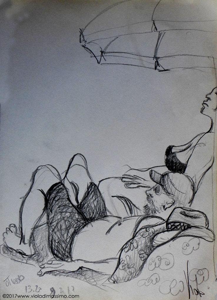 bellezze al bagno mare disegno matita
