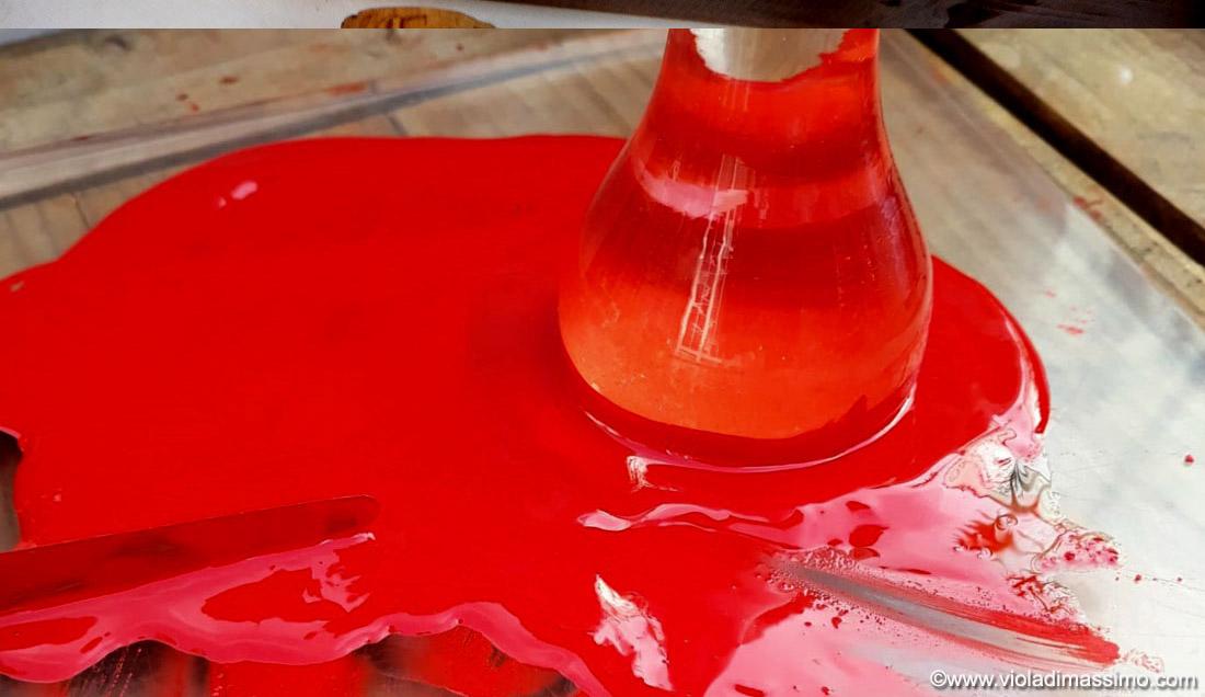 Preparazione colore ad olio Rosso Vermiglione
