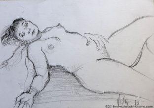 nudo donna sdraiato matita